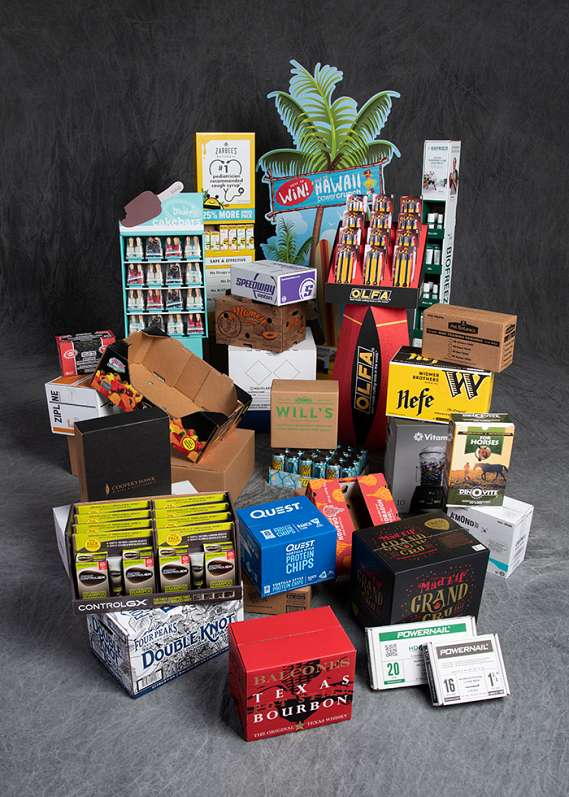 Full spectrum of corrugated containers, including POP displays, POS packaging, and shipping boxes